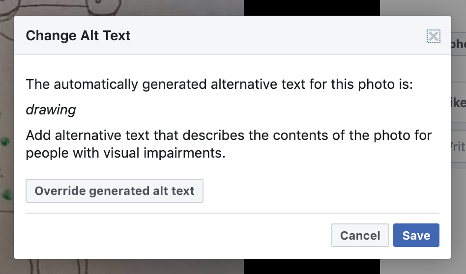 'Change Alt Text' dialog showing generated alternative text