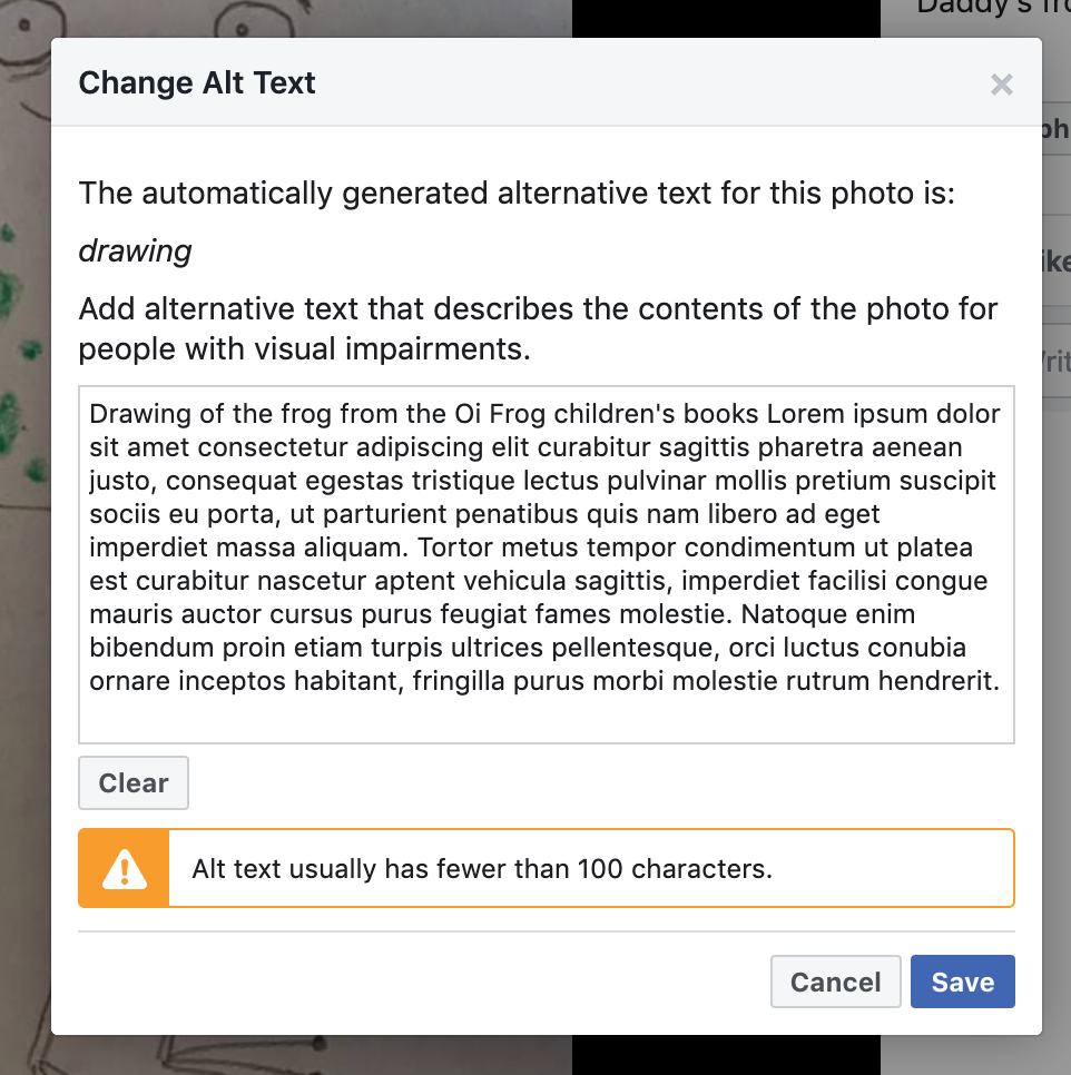 Facebook warning: 'Alt text usually has fewer than 100 characters.'
