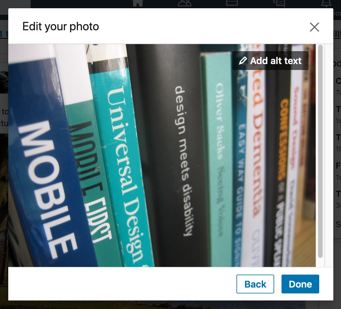 'Edit your photo' dialog showing 'Add alt text' button