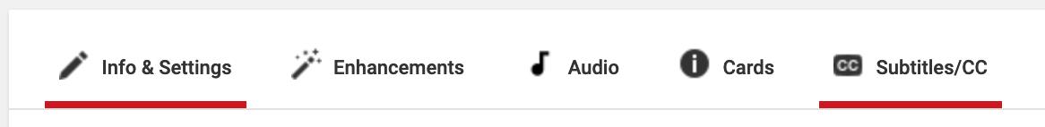 YouTube Studio has a 'Subtitles/CC' tab
