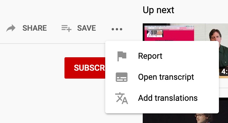 YouTube videos with closed captions also have an 'Open transcript' option under the '…' menu