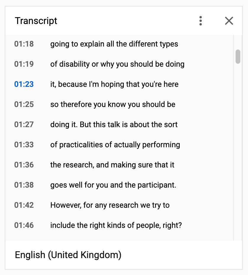 The transcript displays alongside the video and automatically scrolls as the video plays